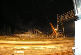 Abriss der Fußgängerbrücke in Garching